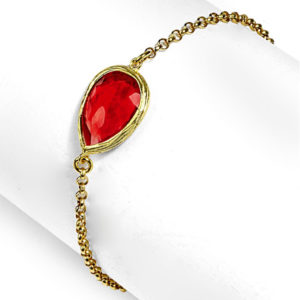 Pulsera de plata con baño oro con Turmalina roja