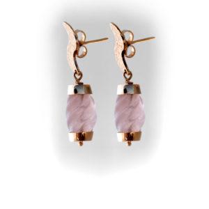 Pendientes de oro amarillo con Cuarzo rosa facetado